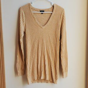 Torrid Gold Ribbed V-Neck Sweater 1X